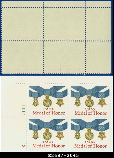 1983 USA MNH Sc# 2045 Plate# Block of Four � 20c Medal of Honor - 1983 Military Service Medal