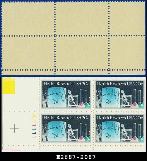 1984 USA MNH Sc# 2087 Plate# Block of Four � 20c Lab Equipment � 1984 Health Research
