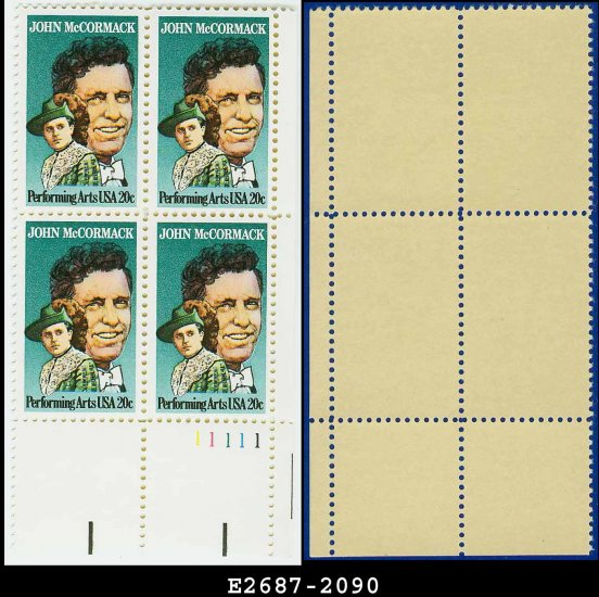 1984 USA MNH Sc# 2090 Pl# Blk of 4 � 20c John McCormack � 1984 Ireland USA Joint Issue