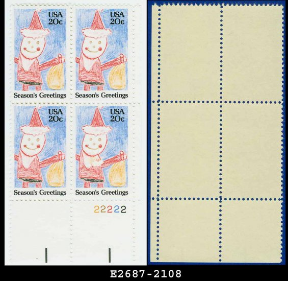 1984 USA MNH Sc# 2108 Plate# Block of Four � 20c Santa Claus - 1984 Christmas Issue