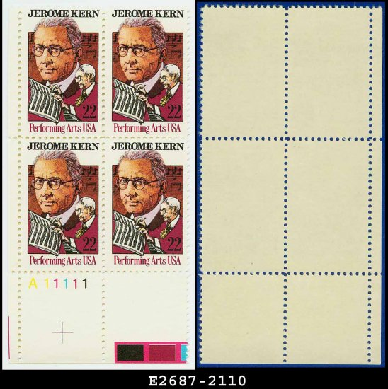 1985 USA MNH Sc# 2110 Plate# Block of Four � 22c Jerome Kern � 1985 Commemoratives