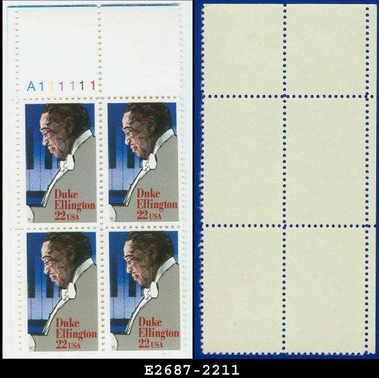 1986 USA MNH Sc# 2211 Plate# Block of Four � 22c Duke Ellington - 1986 Commemoratives