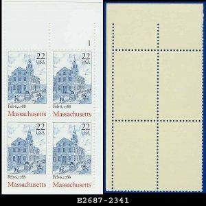 1987 USA MNH Sc# 2341 Plate# Blk of 4 � 22c Massachusetts � 1987-90 Bicentenary Statehood Series