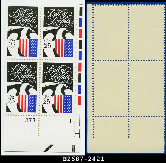 1989 USA MNH Sc# 2421 Plate# Block of Four � 25c Bill of Rights � 1989 Commemoratives