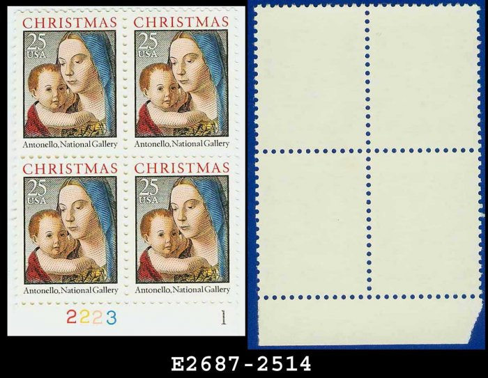 1990 USA MNH Sc# 2514 Plate# Block of Four � 25c Madonna and Child - 1990 Christmas Issue
