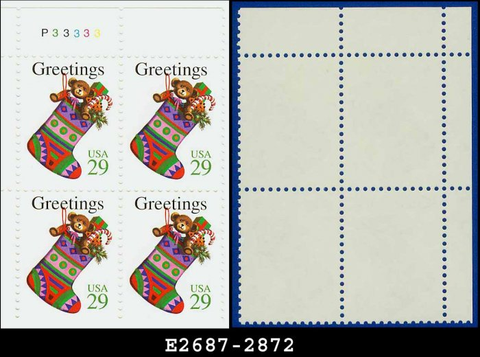 1994 USA MNH Sc# 2872 Plate# Block of Four � 29c Christmas Stocking - 1994 Christmas Issue