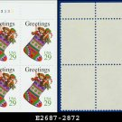 1994 USA MNH Sc# 2872 Plate# Block of Four – 29c Christmas Stocking - 1994 Christmas Issue