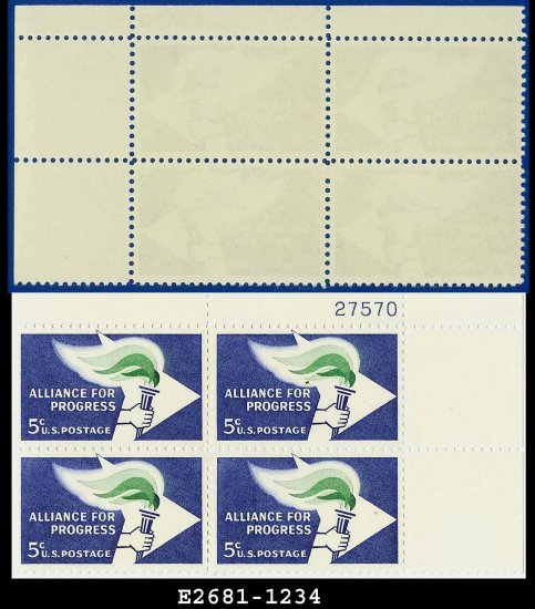 1963 USA MNH Sc# 1234 Plate# Block of Four � 5c Flame & Torch  � 1963 Alliance for Progress