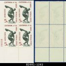 1965 USA MNH Sc# 1262 Plate# Block of Four – 5c Discus Thrower – 1965 Physical Fitness