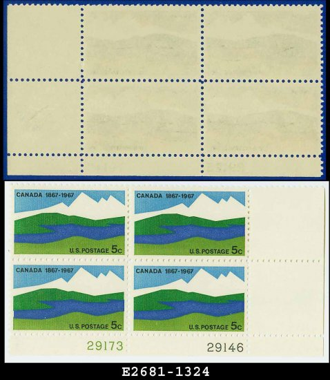 1967 USA MNH Sc# 1324 Plate# Block of Four � 5c Canadian Landscape � 1967 Commemoratives
