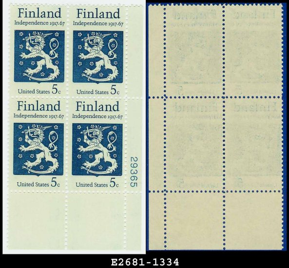 1967 USA MNH Sc# 1334 Plate# Block of Four � 5c Finnish Coat of Arms � 1967 Finnish Independence