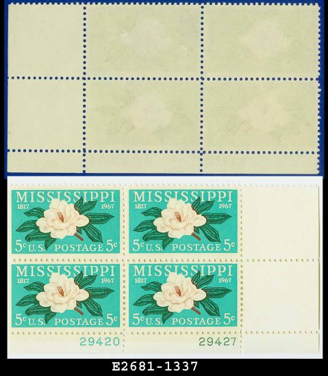 1967 USA MNH Sc# 1337 Plate# Block of Four � 5c Magnolia � 1967 Mississippi 150 Years