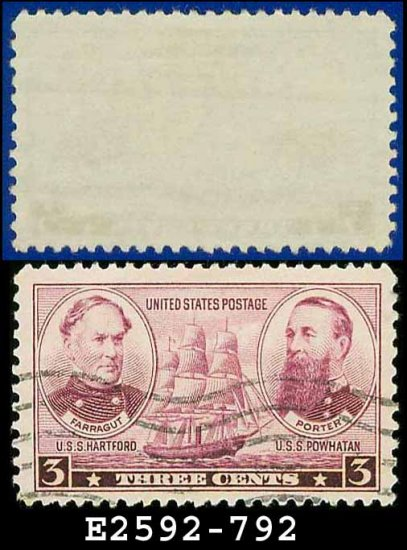 1936-37 USA USED Scott# 792 � 3c Farragut & Porter � Army-Navy War Heroes Issue