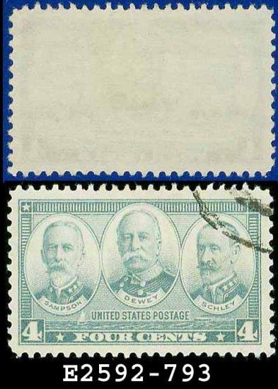 1936-37 USA USED Scott# 793 � 4c Sampson, Dewey, & Schley � Army-Navy War Heroes Issue