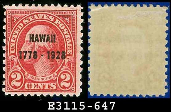 1928 USA UNUSED Scott# 647 � 2c Discovery of Hawaii Carmine Washington � 1928 Hawaii Overprint