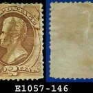 1870-71 USA USED Sc# 146 – 2c Red Brown Washington  – National Bank Note without Grill