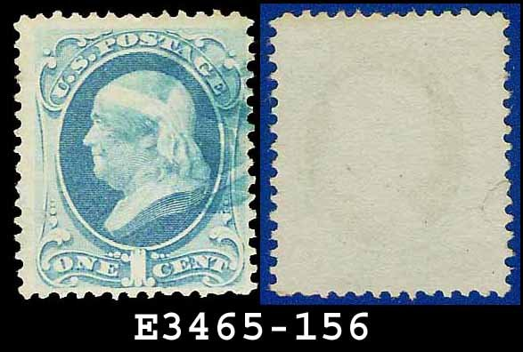 1873 USA USED Scott# 156 � 1c Ultramarine Franklin � 1873 Continental Bank Note Printing