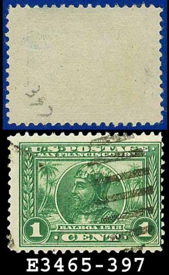 1913 USA USED Scott# 397 � 1c Green Balboa � 1913 Panama-Pacific Issue
