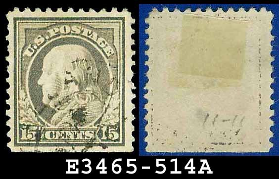 1917-19 USA USED Scott# 514 � 15c Gray Franklin � 1917-19 Regular Issue