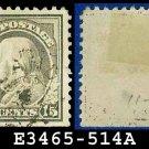 1917-19 USA USED Scott# 514 – 15c Gray Franklin – 1917-19 Regular Issue