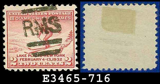 1932 USA USED Scott# 716 � 2c Ski Jumper � 1932 Commemoratives Winter Olympic Games