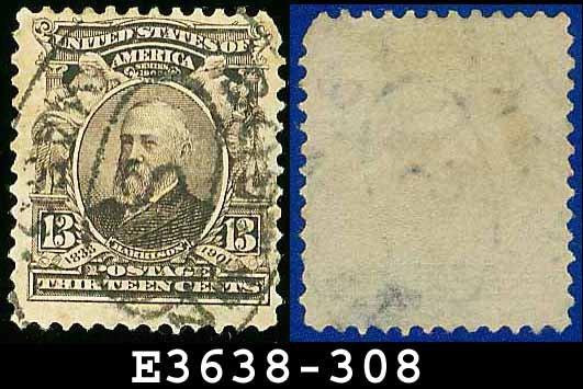 1902-03 USA USED Scott# 308 � 13c B Harrison 23rd President � 1902-03 Regular Series Perf 12