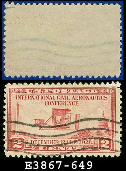 1928 USA USED Scott# 649 � 2c Wright Airplane � International Civil Aeronautics Conference Issue