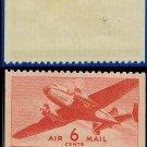 1941-44 USA UNUSED C25 – 6c Carmine Twin-Motored Transport Plane – 1941-44 Airmail Issue