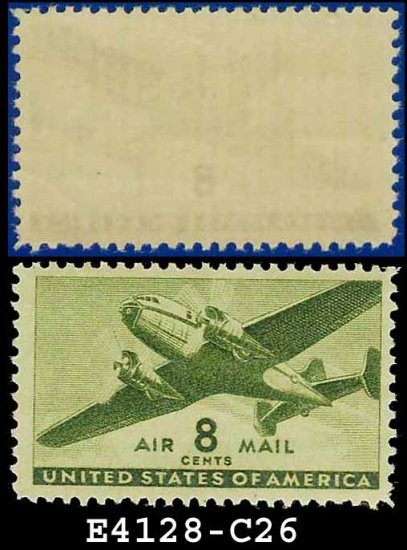 1941-44 USA UNUSED C26 � 8c Olive Green Twin-Motored Transport Plane � 1941-44 Airmail Issue