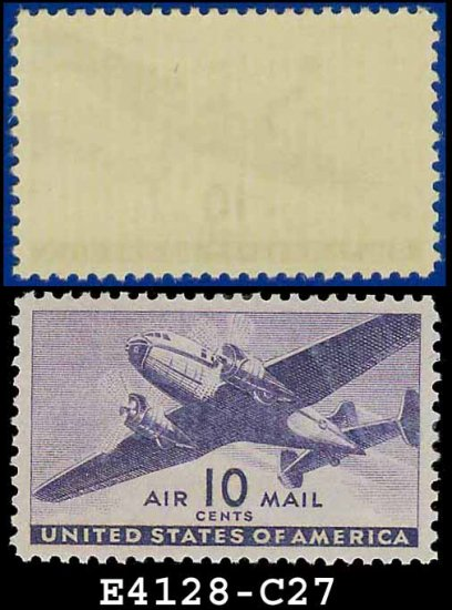 1941-44 USA UNUSED C27 � 10c Violet Twin-Motored Transport Plane � 1941-44 Airmail Issue