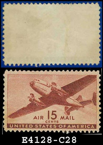 1941-44 USA UNUSED C28 � 15c Brown Carmine Twin-Motored Transport Plane � 1941-44 Airmail Issue