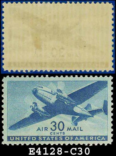1941-44 USA UNUSED C30 � 30c Blue Twin-Motored Transport Plane � 1941-44 Airmail Issue