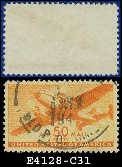 1941-44 USA USED C31 � 50c Orange Twin-Motored Transport Plane � 1941-44 Airmail Issue