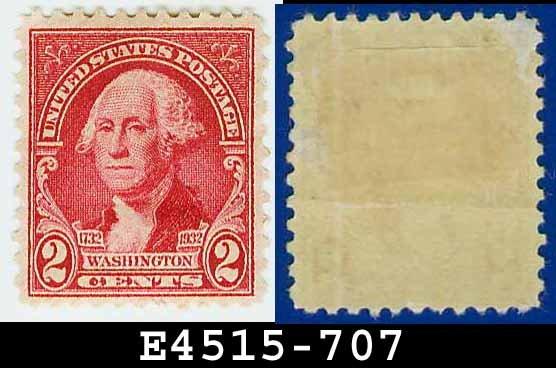 1932 USA UNUSED Scott# 707 � 2c Carmine Rose Washington - 1932 Washington Bicentennial Issue