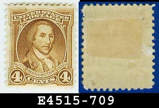 1932 USA UNUSED Scott# 709 � 4c Light Brown Washington - 1932 Washington Bicentennial Issue