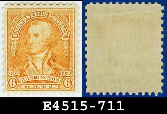 1932 USA UNUSED Scott# 711 � 6c Red Orange Washington - 1932 Washington Bicentennial Issue