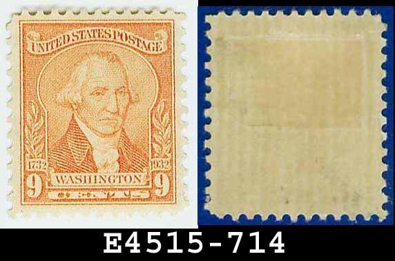 1932 USA UNUSED Scott# 714 � 9c Pale Red Washington - 1932 Washington Bicentennial Issue