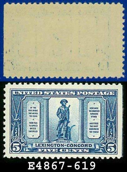 1925 USA UNUSED Scott# 619 � 5c The Minute Man � Lexington-Concord Issue