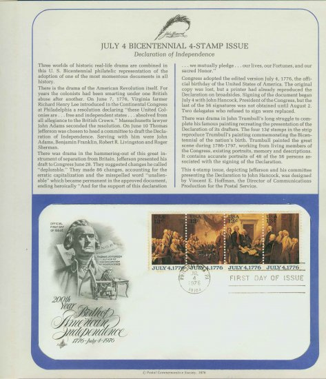 1976 USA FDC Sc# 1691-94 � July 4th Bicentennial 4-Stamp Issue on Cachet Unaddressed Cover E4859P