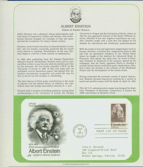 1979 USA FDC Sc# 1774 � 100 Anniversary Albert Einstein�s Birth on Cachet Addressed Cover E4859P