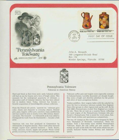 1979 USA FDC Scott# 1775-76 � Apr 19, 1979 Pennsylvania Toleware on Cachet Addressed Cover E4859P