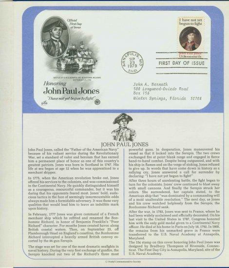 1979 USA FDC Sc# 1789 � Sep 23 � Honoring John Paul Jones on Cachet Addressed Cover E4859P