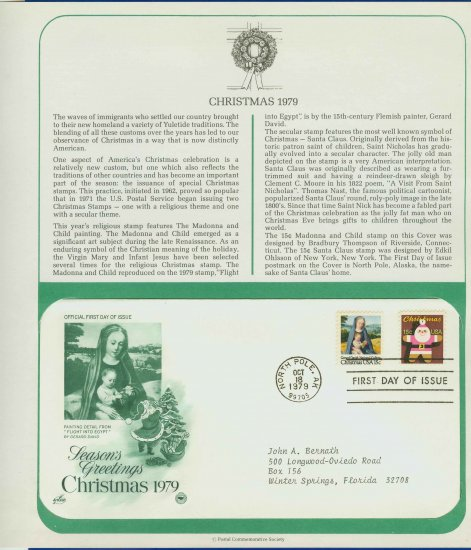 1979 USA FDC Sc# 1799-1800 � Oct 18 � Christmas 2 Stamp Issue on Cachet Addressed Cover E4859P