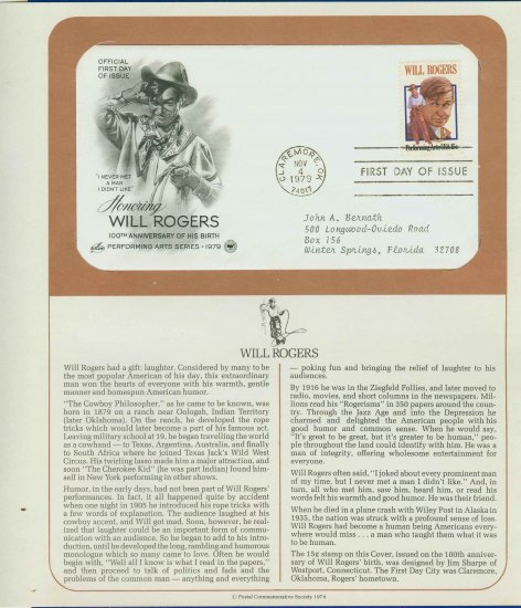1979 USA FDC Sc# 1801 � Nov 4 � Honoring Will Rogers on Cachet Addressed Cover E4859P