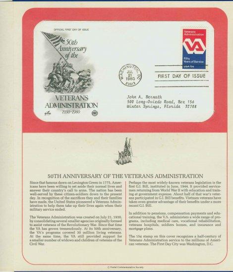 1980 USA FDC Scott# 1825 � Jul 21 � Veterans Administration on Cachet Addressed Cover E4859P