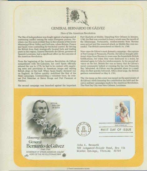 1980 USA FDC Scott# 1826 � Jul 23 � General Bernardo de Galvez on Cachet Addressed Cover E4859P