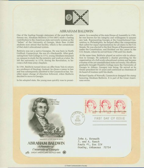 1985 USA FDC Scott# 1850 � Jan 25 � Abraham Baldwin 3 Stamps on Cachet Addressed Cover E4859P