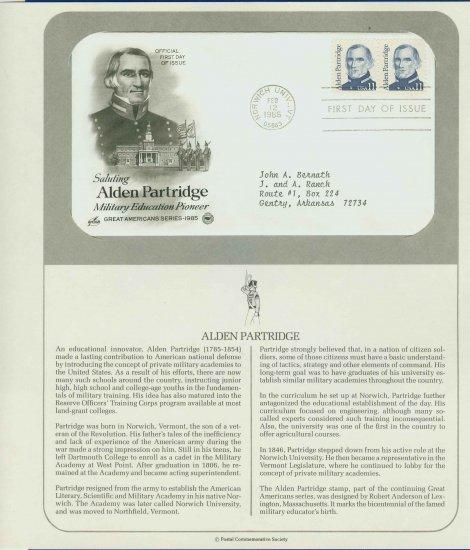 1985 USA FDC Scott# 1854 � Feb 12 � Alden Partridge 2 Stamps on Cachet Addressed Cover E4859P