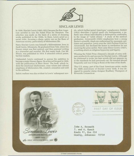 1985 USA FDC Scott# 1856 � Mar 21 � Sinclair Lewis 2 Stamps on Cachet Addressed Cover E4859P