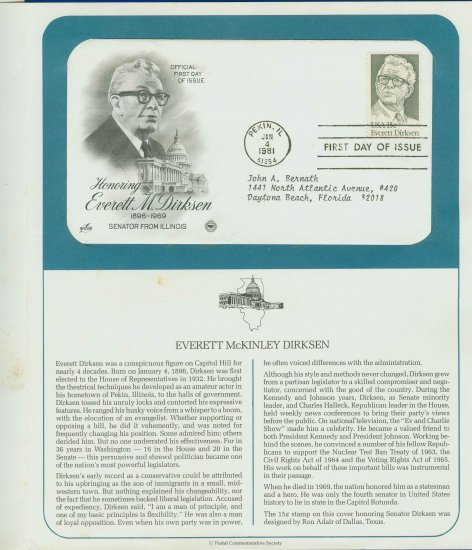 1981 USA FDC Scott# 1874 � Jan 4 � Honoring Everett M Dirksen on Cachet Addressed Cover E4859P